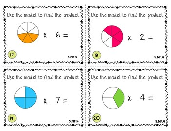 5.NF.4 Multiplying Fractions Task Cards Using Visual Models