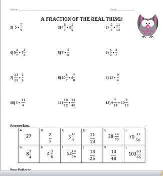 Multiplying Fractions (some whole numbers) - Versatiles