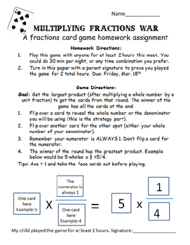 Multiplying Fractions War: A Card Game 4.NF.B.4