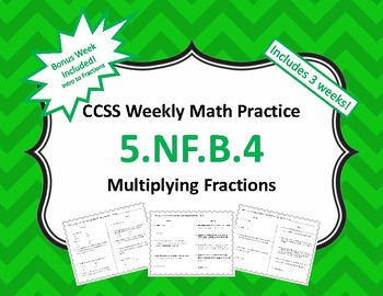Multiplying Fractions Weekly Math Practice