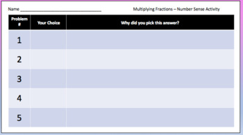 Multiplying Fractions – Which answer makes sense?  Google Classroom Activity