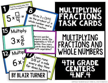 Multiplying Fractions & Whole Numbers Task Cards: 4th Grade Math Centers 4.NF.4
