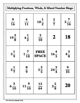 Multiplying Fractions, Whole, and Mixed Numbers Bingo (30 pre-made cards!)