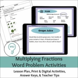 Multiplying Fractions Word Problems Digital and Print Activities