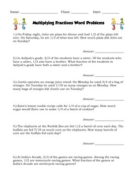 Multiplying Fractions Word Problems