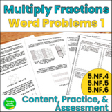 Multiplying Fractions Word Problems Pack #1: 5.NF.4, 5, and 6
