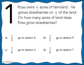 Multiplying Fractions Word Problems Stations Maze Activity