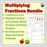 Multiplying Fractions Worksheets Bundle Grade 4th-6th