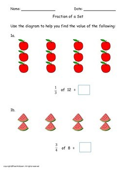 Multiplying Fractions Worksheets Bundle Grade 4th-6th
