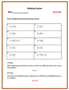 Multiplying Fractions Worksheets (Three Worksheets w/ Answer Keys)