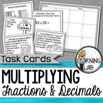 Multiplying Fractions and Decimals Task Cards