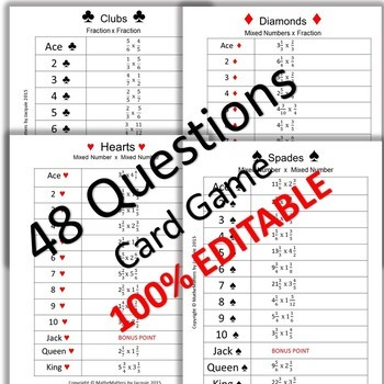 Multiplying Fractions and Mixed Numbers 5.NF.A.1  { EDITABLE } 48 Questions GAME