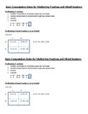 Multiplying Fractions and Mixed Numbers Notes