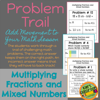 Multiplying Fractions and Mixed Numbers Problem Trail Game /Activity