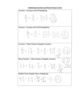 Multiplying Fractions and Mixed Numbers Review Notes and Practice Page