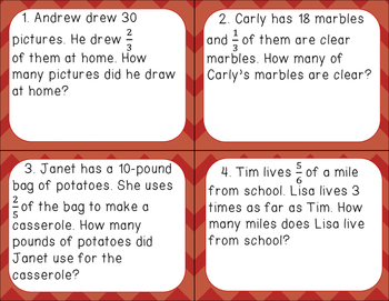 Multiplying Fractions and Mixed Numbers - Task Cards with Word Problems
