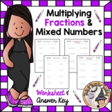 Multiplying Fractions and Mixed Numbers Worksheet with ANS