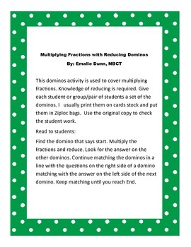 Multiplying Fractions and Reducing Dominos