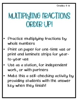 Multiplying Fractions and Whole Numbers Activity