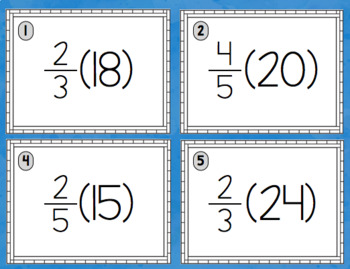 Multiplying Fractions and Whole Numbers - Notes, task cards, and practice pages