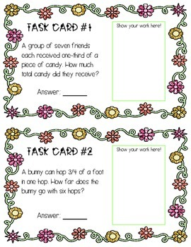 Multiplying Fractions and Whole Numbers - Spring Themed Task Cards!