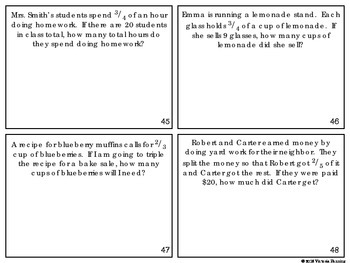 Multiplying Fractions and Whole Numbers Task Cards Common Core Aligned 4.NF.4