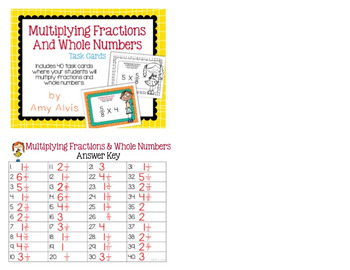 Fraction Task Cards Multiplying Fractions and Whole Numbers