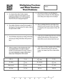 Multiplying Fractions and Whole Numbers Word Problems Create a Riddle Activity