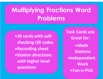 Multiplying Fractions Word Problems: Task Cards with QR Codes