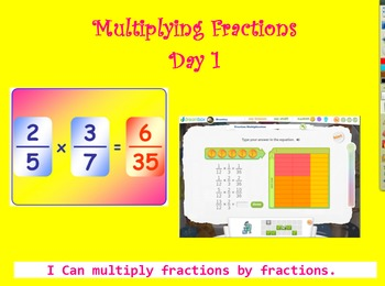5.NF.6 Multiplying Fractions by Fractions 4 Day Unit