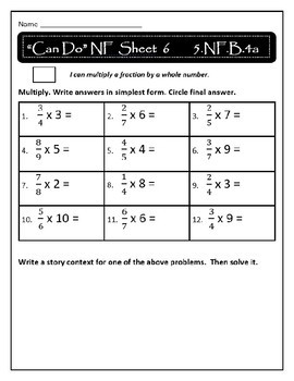 Multiplying Fractions by Fractions/Whole Numbers and Finding Area: 5.NF.3-4