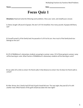 Multiplying Fractions by Fractions Word Problems