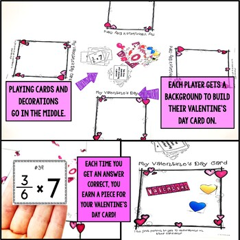 Valentine's Day Multiplying Fractions by Whole Numbers Game