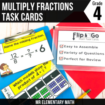 Multiplying Fractions Task Cards 4th Grade Math Centers