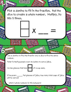 Multiplying Fractions by Whole Numbers Domino & Dice Task Cards