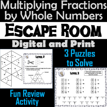 Multiplying Fractions by Whole Numbers Game: Escape Room Math