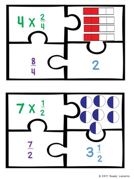 Multiply Fraction by Whole Number Game Puzzles Fraction 4th Grade Center 4.NF.4