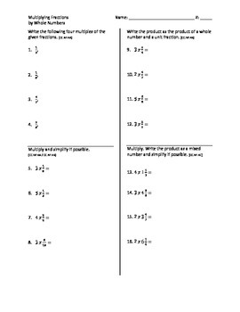 Multiplying Fractions by Whole Numbers - Go Math Chapter 8 Review