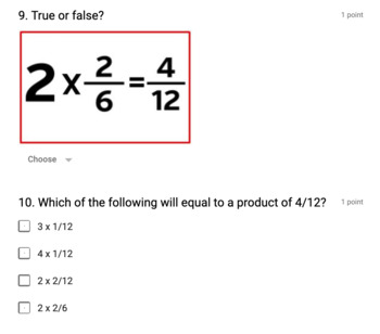 Multiplying Fractions by Whole Numbers: Google Forms Assessment
