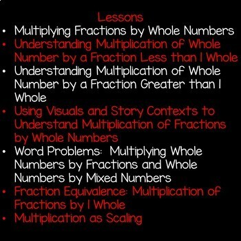 Multiplying Fractions by Whole Numbers Math Unit 5th Grade Common Core