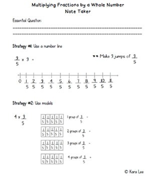 Multiplying Fractions by Whole Numbers PowerPoint and Note Taker