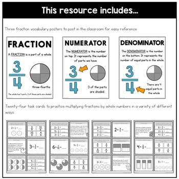 Multiplying Fractions by Whole Numbers Task Cards | Fraction Practice