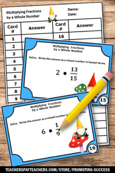 Multiplying Fractions by Whole Numbers, 5th Grade Math Review, Fraction Game