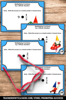 Multiplying Fractions by Whole Numbers Task Cards, 5th Grade Fraction Review