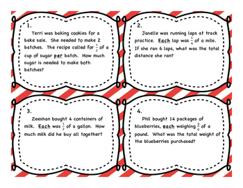 Multiplying Fractions by Whole Numbers Differentiated Word Problem Task Cards
