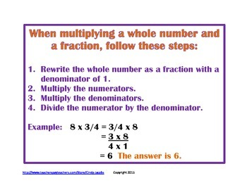 Multiplying Fractions by Whole Numbers Word Problems Task Cards