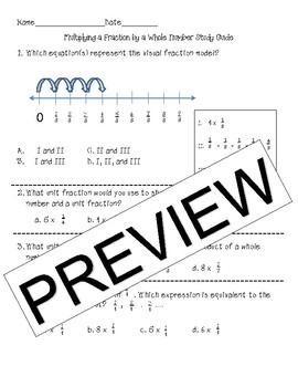 NO PREP Multiplying Fractions by a Whole Number Test Prep Print & Go