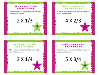 Multiplying Fractions by a Whole Number Task Cards