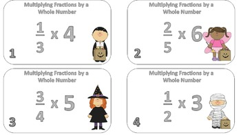 Multiplying Fractions by a Whole Number Task Cards ((Halloween Themed))