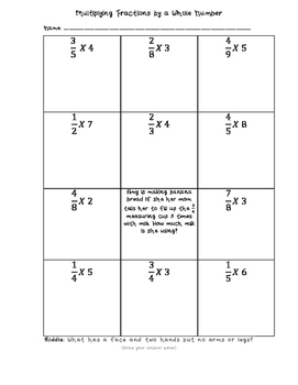 multiplying fractions by a whole number worksheet by greener where  multiplying fractions by a whole number worksheet